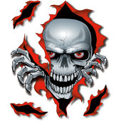 RED SKULL DECAL 1 PIECE