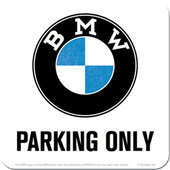 UNTERSETZER BMW *PARKING ONLY*, MASSE: 9 X 9 CM