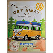 Retro Blechschild VW Bulli Let's Get Away Maße: 30x40cm