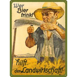 Blechschild Wer Bier....