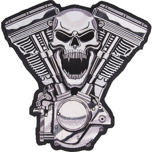 Sew-On Badge - Skull V-Twin