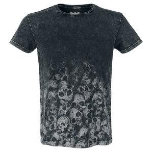 Black Premium Rebel Soul Skull T-Shirt Grau Motorrad