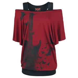 Black Premium Heart Rules Damen T-Shirt Bordeaux Schwarz Motorrad