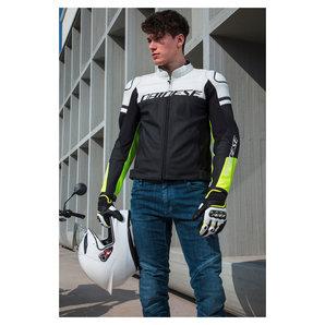 Agile Lederjacke Schwarz Weiss Neon Gelb Dainese Motorrad