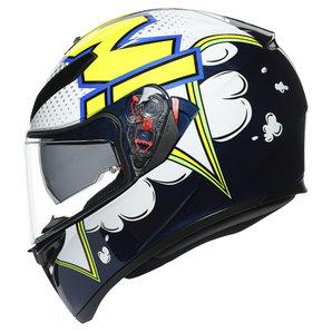 AGV K3 SV Bubble Integralhelm Weiss Gelb Schwarz Blau Motorrad
