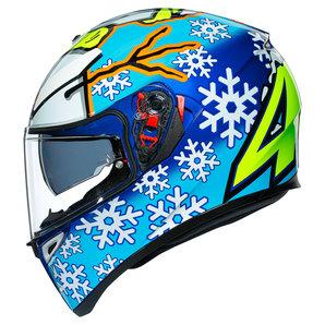 AGV K3 SV Rossi Wintertest 2016 Integralhelm Weiss Blau Gelb Motorrad