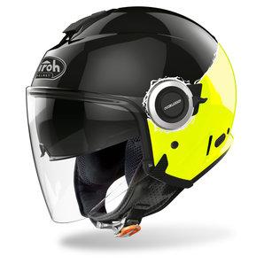 Airoh Helios Fluo Yellow Gloss- Jethelm Gelb Schwarz Motorrad