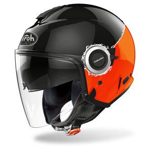 Airoh Helios Fluo Orange Gloss- Jethelm Schwarz Motorrad