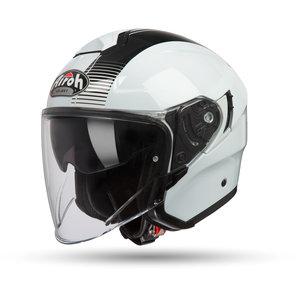 Airoh Hunter Simple White Gloss Jethelm Weiss Schwarz Motorrad