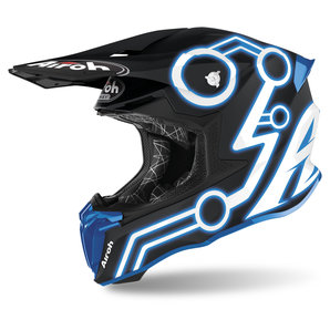 Airoh Twist 2-0 Neon Blue Matt- Crosshelm Matt Schwarz Blau Motorrad