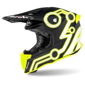 Airoh Twist 2-0 Neon Yellow Matt- Crosshelm Matt Schwarz Gelb Motorrad
