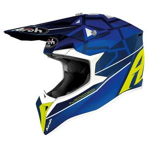 Airoh Wraap Mood Crosshelm Blau Gelb Weiss Motorrad