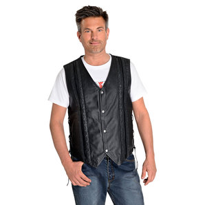 String leather vest