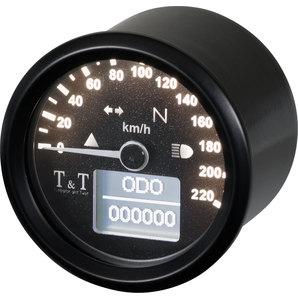 TundT elektronischer Tachometer 48mm- - 220 km-h Tumbleton and Twist Motorrad