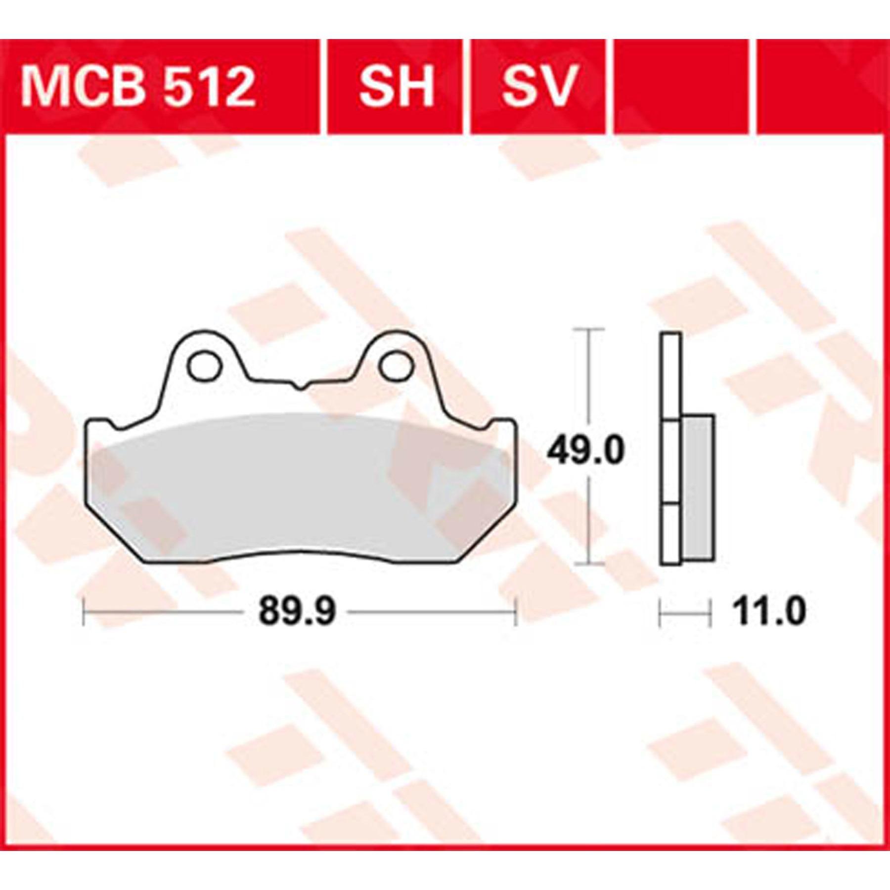 Trw Lucas plaquette de frein mcb512 arrière Honda CB 900 F BOL D OR