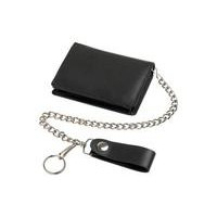 LEATHER WALLET, BLACK WITH CHAIN