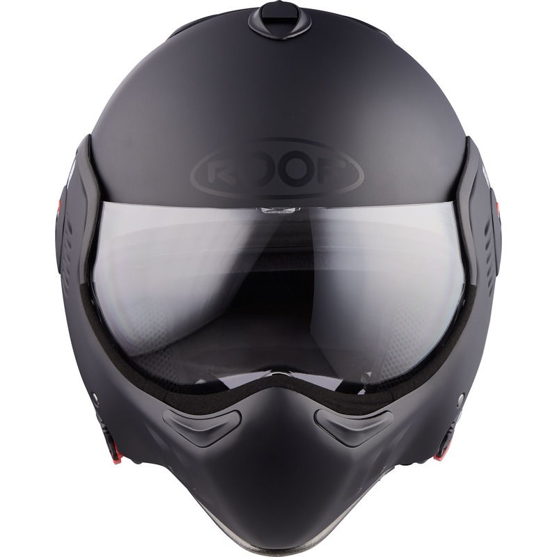 Roof Boxer V8 Full Black Flip Front Motorcycle Helmet